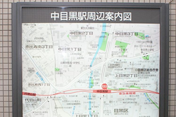 駅の案内板の右下に当ホテルの記載あり