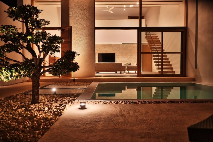 中庭(夜):Garden View in Night.