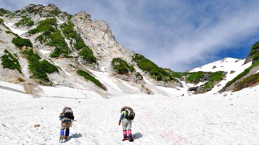 *【周辺観光_白馬大雪渓遊歩道雪どけ水の流れる沢の水は透き通っており、涼を感じることができます。