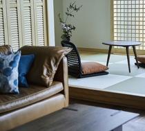【胡桃】キャメル色のレザーソファーはアクタスオリジナルです。