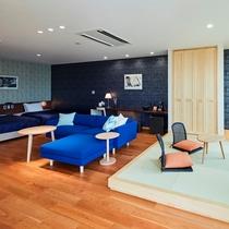 【藍】座り心地の良い素材のソファです。