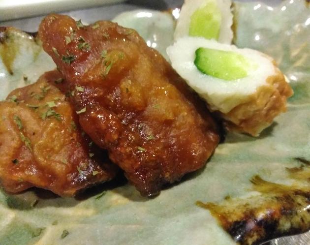 朝食一例 鰺の味噌竜田揚げ