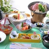 お食事一例:季節毎の旬の恵みや熊本を代表するお料理など、ご満足いただけるメニューをご用意しています。