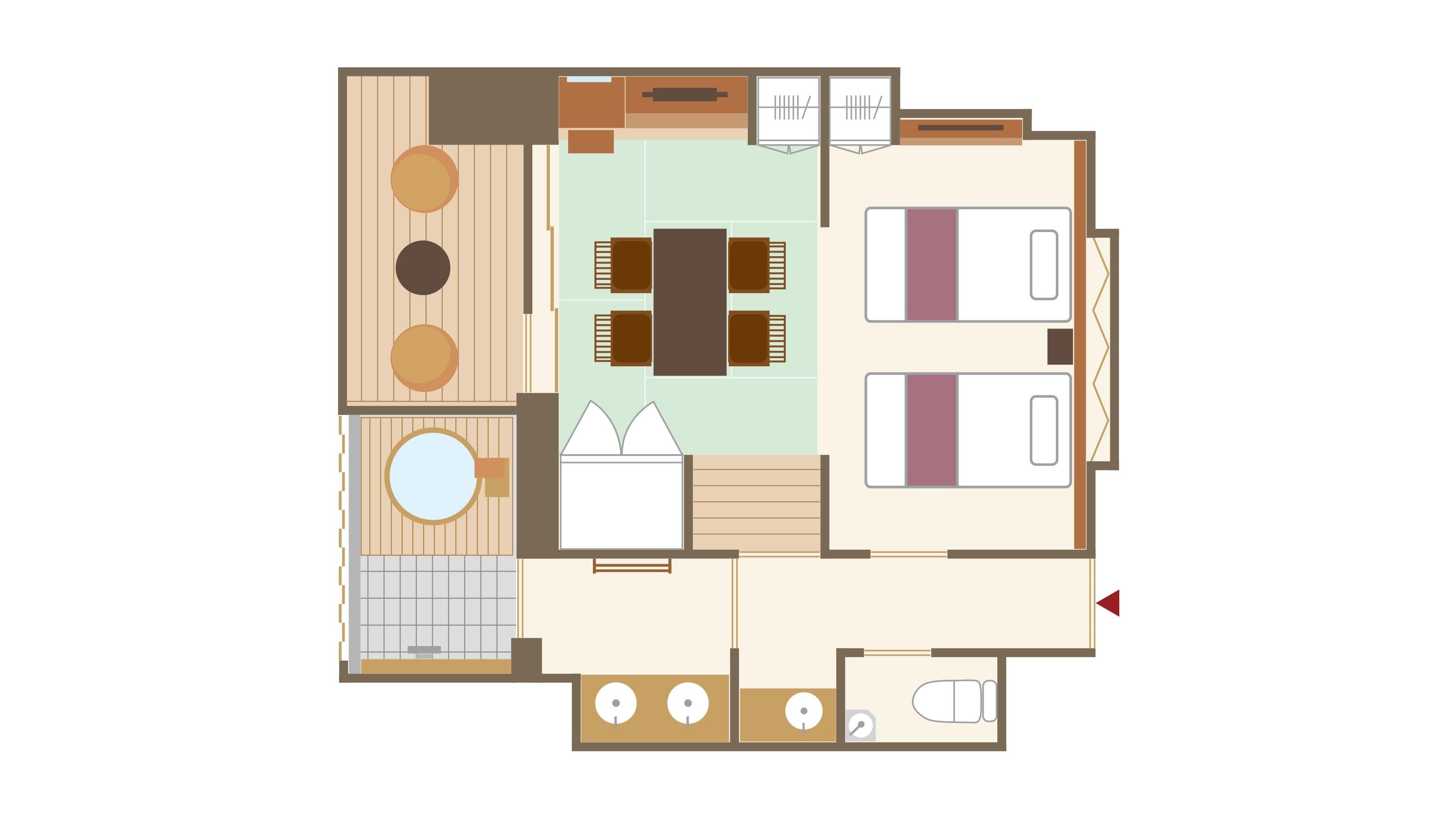 【本館】露天風呂付和洋室 平面図