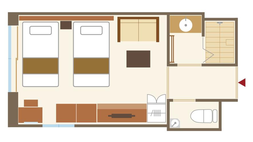 【敷島館】和ツイン シャワー付 平面図