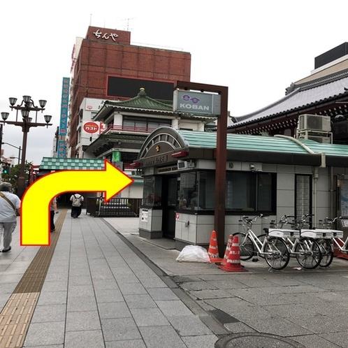 【銀座線:④】 右手に交番が見えたら右に曲がります。