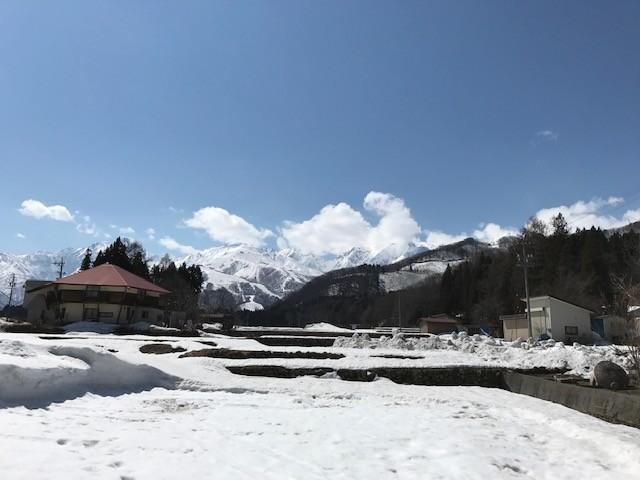 当館裏より望む北アルプス(冬〜春)