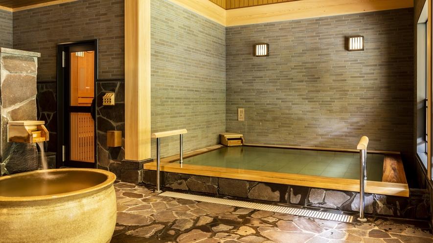 【大浴場】大浴場は男女入れ替え制。違う雰囲気のお風呂を朝と夜で愉しめます。
