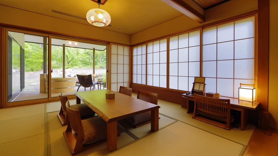 【離れ】天の坐「カン亭」客室一例。最大6名様までご宿泊可能な天の坐の中で、お二人旅行にお薦めの客室。