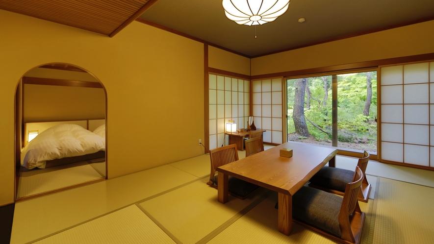 【離れ】天の坐「漣亭」客室一例。古き良き日本の茶室建築に、どこか懐かしさを覚えます。