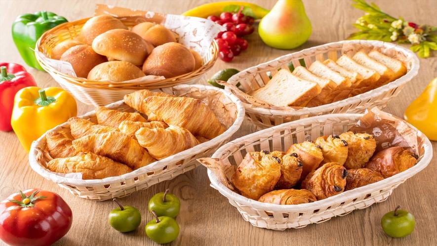 【朝食】焼きたてパン。朝焼き上げるパンはどのお客様にも大好評!一例)
