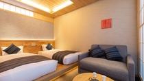 スーペリアツインは一部お部屋にソファー有。全く違う表情を見せる6部屋をお楽しみください。