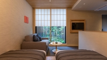 スーペリアツインは1階に2部屋、坪庭を楽しめるガーデンビュールームがございます。おススメです。