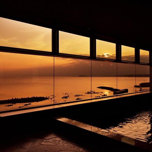 大浴場から見る夕日