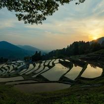 *【室谷の棚田】「日本の棚田百選」に選ばれた約千枚の棚田。水面に西日が写る夕景は圧巻!車で約20分。