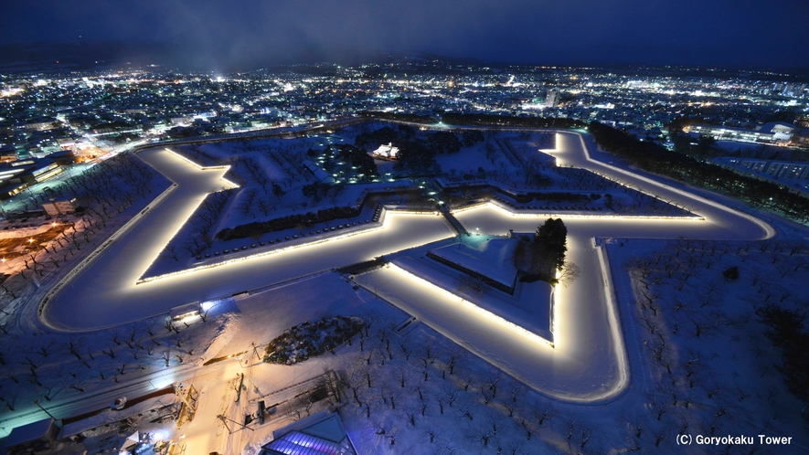 五稜郭タワーから見た五稜郭公園(冬)クリスマスの時期にはライトアップも
