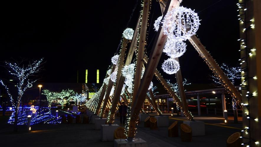冬の函館駅前のライトアップ