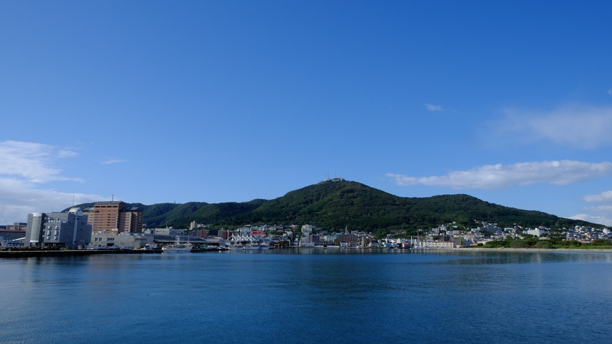 函館山の眺め(牛が寝そべっているように見えることから別名臥牛山とも呼ばれます)