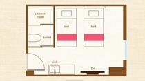 ツインルーム平面図