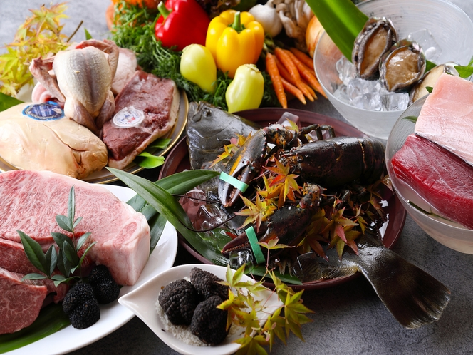 料理最上級アップグレードプランのフレンチコース その日の厳選食材を使用