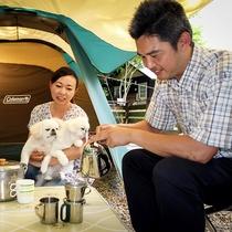 キャンプ用品のレンタルも可能。