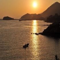 仙酔島からの夕陽