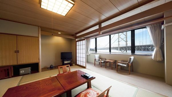 鳴門海峡を眺める感動の眺望和室(喫煙)-お部屋食