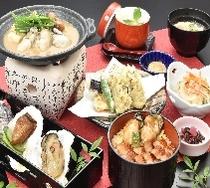 牡蠣の陶板焼き御膳