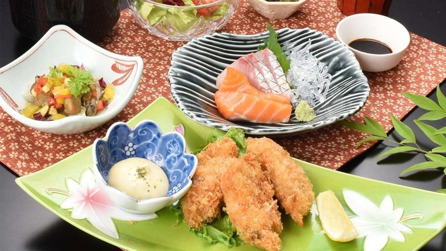 牡蠣フライ御膳(レストランメニューですので当日でもレストランでお召し上がりいただけます♪)