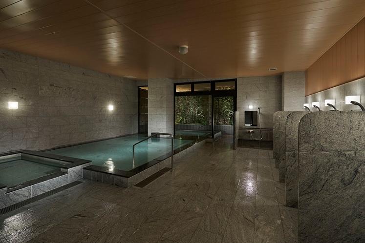 広々とした衛生的な男性用大浴場・サウナ、水風呂、露天風呂、内風呂で疲れを癒して頂けます。