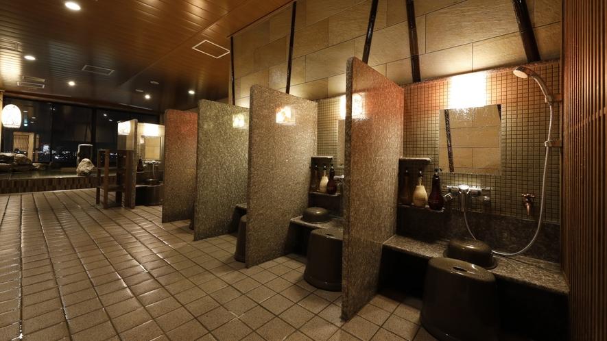 ■天然温泉大浴場「香梅の湯」女性洗い場(カラン9個設置)