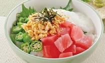 【ご当地逸品】:ねばねばお好み丼【だるま納豆とご一緒に!お好みのトッピングでお召し上がりください】