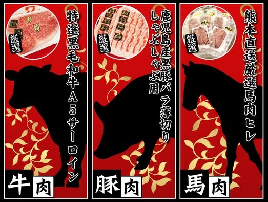【豪華特典】牛肉・豚肉・馬肉の3種類から選べる♪豪華お土産付プラン【素泊り】男女別大浴場・屋上庭園