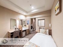 <客室>優しい色合いお部屋タイプ 暖かな雰囲気です。・シングル連泊タイプ 洗濯機・電子レンジ有