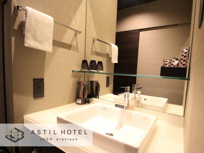 <客室>落ち着いた色合いのお部屋タイプ シックな雰囲気です。・洗面台