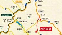 【周辺の地図】黒田官兵衛ゆかりの地中津市。そんな耶馬渓にたたずむ西谷温泉。