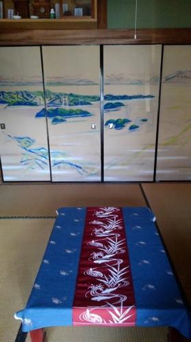 客室1 6畳来島海峡襖絵