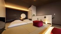 2階建メゾネットタイプの客室は全室露天風呂付き、2Fは寝室と露天風呂を配しています