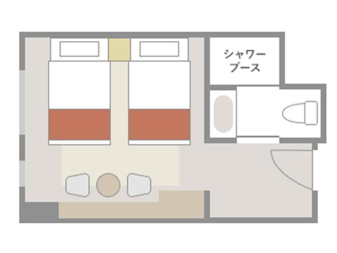 【エコノミーツイン:21㎡】室内レイアウト(一例)