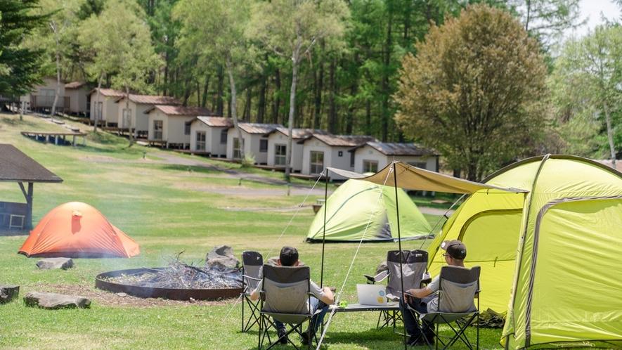 【テントサイト】広い芝生でのびのびキャンプ。
