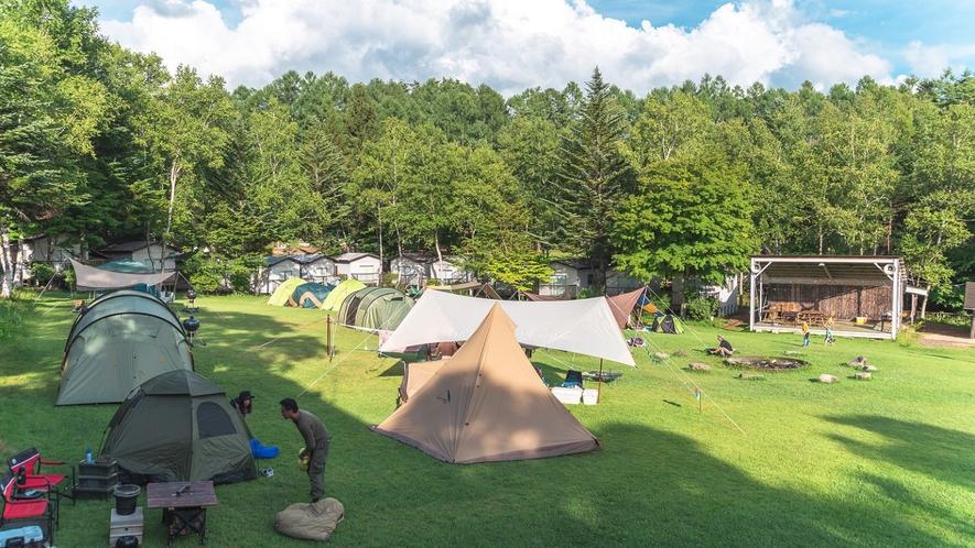 【テントサイト】ファミリー向け、ソロキャンプ専用のサイトをご用意しております。