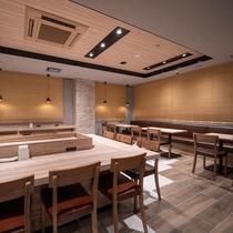 【館内設備】1階ロハスラウンジ。期間限定のお茶漬け、アルコールbarもこちらでご提供しております。