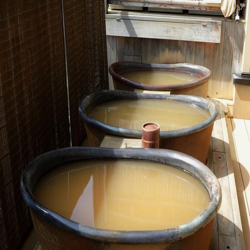 【大浴場 展望太閤温泉】温泉成分たっぷりの、金銅色のにごり湯です