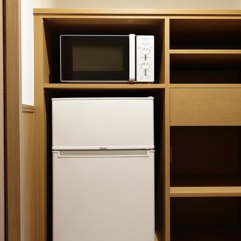 全室に冷蔵庫、電子レンジを完備