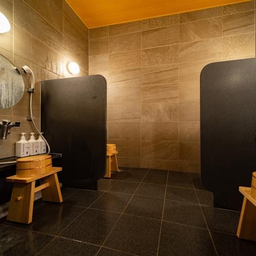 女性大浴場には洗い場を4か所設けております
