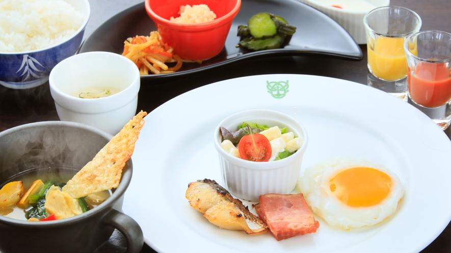 【朝食】朝から嬉しい野菜たっぷりチーズスープとヘルシー朝食*