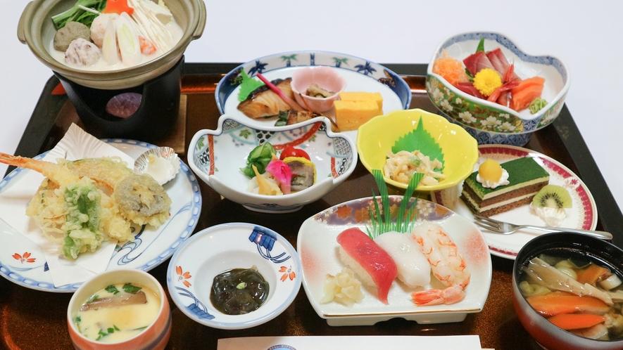 *【夕食一例】三陸近海で獲れた新鮮な海の幸を中心とした和食膳