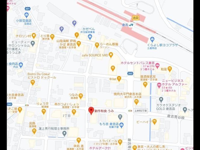 『日本海獲れたて新鮮な魚介類にこだわった店主自慢の夕食プラン』の『創作和食 うみ』の地図
