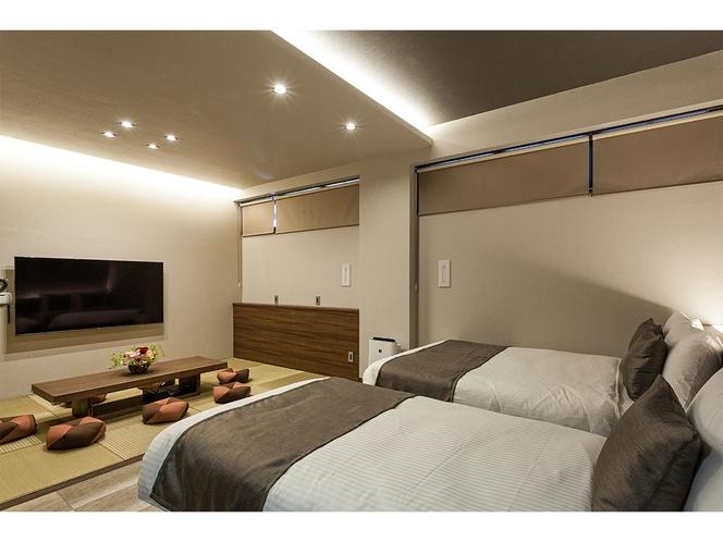 琉球ファミリースイート 洋室+和室(琉球畳)定員7名様 大型TV導入(65インチ)専用駐車場付き