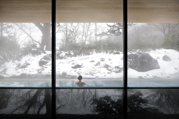 四季折々に装いを変える庭園を眺望できる内風呂